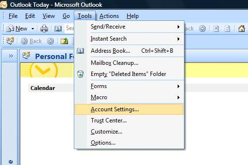 Setup a new account microsoft outlook 2007